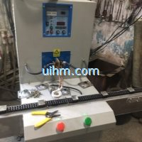 induction brazing SS steel parts with auto feed system by UHF induction heater