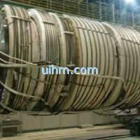 induction preheating hydroturbine shaft by full air cooled dsp induction heating machine