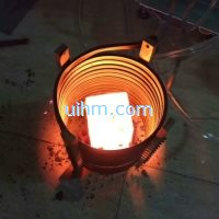 induction heating SS steel block by MF induction heater